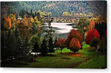 Umpqua Bridge In The Fall Canvas Print by Katie Wing Vigil