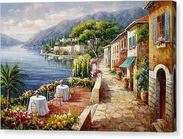 Un Caffe Davanti Al Lago Como Canvas Print by Lucio Campana