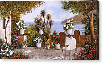 Un Caffe Davanti Al Lago Canvas Print by Guido Borelli