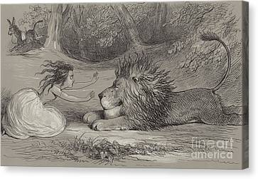 Una And The Lion  Canvas Print by Richard Doyle
