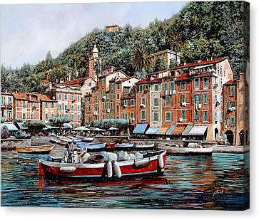 Riviera Canvas Print - Una Lunga Barca Rossa by Guido Borelli