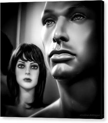 Bad Romance Canvas Print - Unattainable Love Mannequins Black And White by Melissa Bittinger
