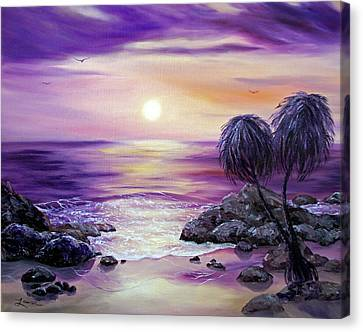 Unawatuna Beach At Sunset Canvas Print by Laura Iverson