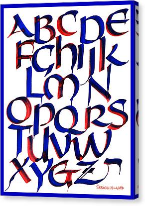 Uncial Alphabet In Red And Blue Canvas Print by Deborah Willard
