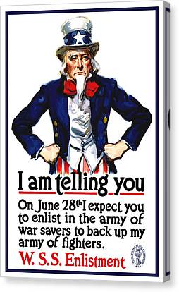 Uncle Sam -- I Am Telling You Canvas Print by War Is Hell Store