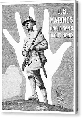 Uncle Sam's Right Hand - Us Marines Canvas Print by War Is Hell Store