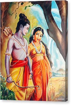 Canvas Print featuring the painting Unconditional Love by Ragunath Venkatraman