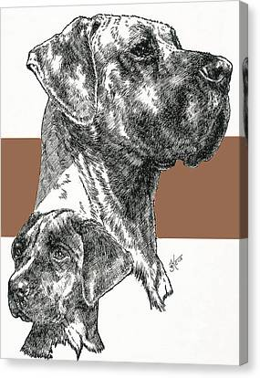 Working Dog Canvas Print - Uncropped Great Dane And Pup by Barbara Keith