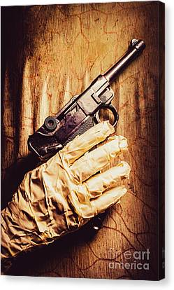 Undead Mummy  Holding Handgun Against Wooden Wall Canvas Print by Jorgo Photography - Wall Art Gallery