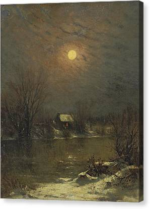 Under A Full Moon Canvas Print by Jervis McEntee
