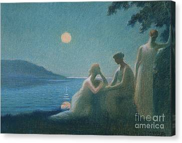 Under A Moonbeam Canvas Print by Alphonse Osbert