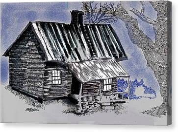 Old Cabins Canvas Print - Under A Tin Roof by Seth Weaver