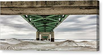 Canvas Print featuring the photograph Under Mackinac Bridge Winter by John McGraw