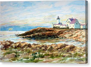 Under Sail - Gloucester Lighthouse Canvas Print by Carl Whitten
