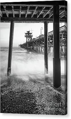 San Clemente Canvas Print - Under San Clemente Pier Black And White Photo by Paul Velgos