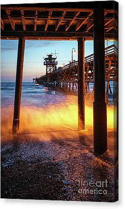 Clemente Canvas Print - Under San Clemente Pier California Photo by Paul Velgos