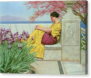Bough Canvas Print - Under The Blossom That Hangs On The Bough by John William Godward