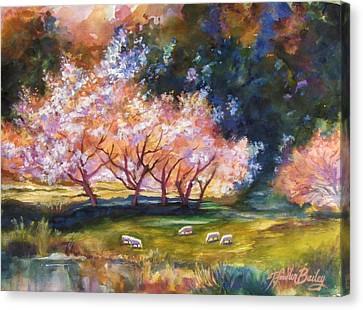 Under The Blossom Trees Sold Canvas Print by Therese Fowler-Bailey