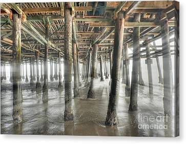 Canvas Print featuring the photograph Under The Boardwalk Into The Light by David Zanzinger