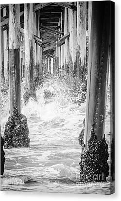 Under The California Pier Black And White Picture Canvas Print by Paul Velgos