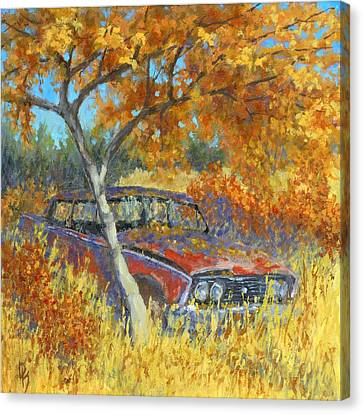 Rusted Cars Canvas Print - Under The Chinese Elm Tree by David King