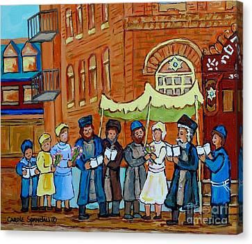 Under The Chupa Jewish Wedding Party Montreal Street Scene Bagg Synagogue Carole Spandau             Canvas Print by Carole Spandau