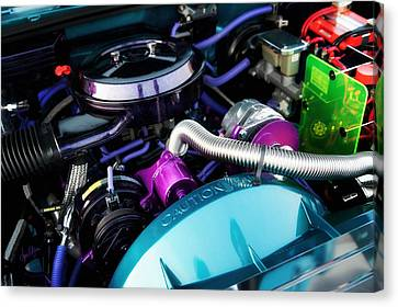 Under The Hood Of A Classic Car By Custom Kolor Canvas Print by Anne Kitzman