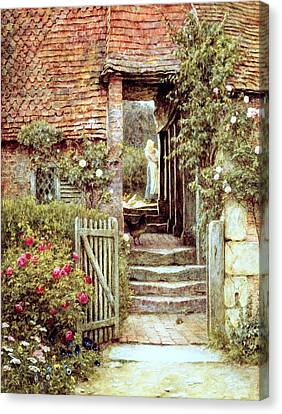 Country Cottage Canvas Print - Under The Old Malthouse Hambledon Surrey by Helen Allingham