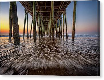 Canvas Print featuring the photograph Under The Pier At Old Orchard Beach by Rick Berk