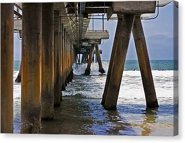 Canvas Print featuring the photograph Under The Pier by Ron Dubin