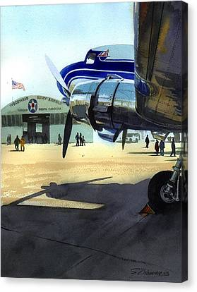 Canvas Print featuring the painting Under The Plane's Wing by Sergey Zhiboedov