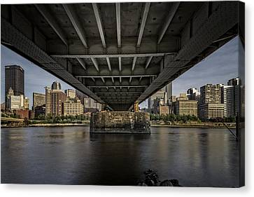 Under The Roberto Clemente Bridge Canvas Print by Rick Berk