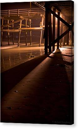 Under The San Clemente Pier At Night Canvas Print by Richard Daugherty