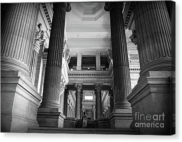 Canvas Print featuring the photograph Under The Scaffolding Of The Palace Of Justice - Brussels by RicardMN Photography