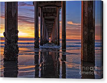 Under The Scripps Pier Canvas Print by Sam Antonio Photography