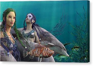 Angel Mermaids Ocean Canvas Print - Under The Sea  by Betsy Knapp