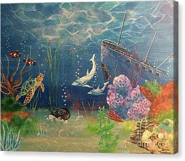 Canvas Print featuring the painting Under The Sea by Denise Tomasura