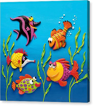 Under The Sea Square Canvas Print by Amy Vangsgard