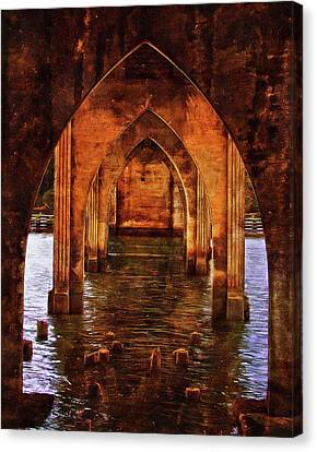 Canvas Print featuring the photograph Under The Siuslaw River Bridge by Thom Zehrfeld