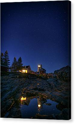 Under The Stars At Pemaquid Point Canvas Print by Rick Berk