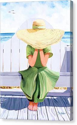 Under The Straw Hat - Prints From Original Oil Painting Canvas Print by Mary Grden Fine Art Oil Painter Baywood Gallery