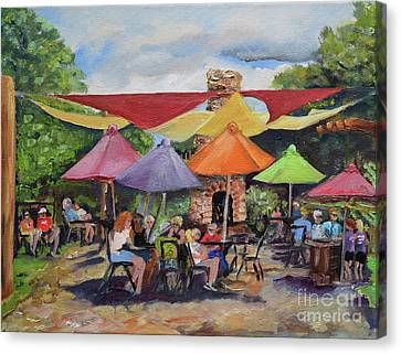 Canvas Print featuring the painting Under The Umbrellas At The Cartecay Vineyard - Crush Festival  by Jan Dappen