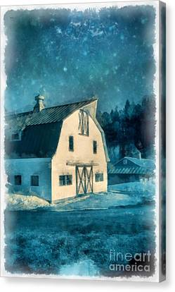 Under The Vermont Moonlight Watercolor Canvas Print by Edward Fielding
