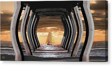 I Am Sailing Canvas Print - Under The Wharf by Ron Chambers