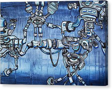 Underground Droids Canvas Print by Larry Calabrese