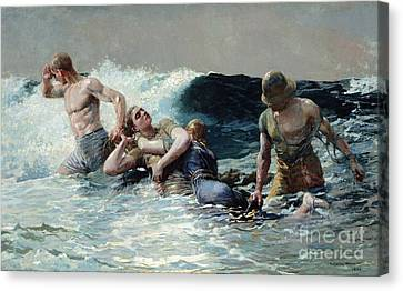 At Sea Canvas Print - Undertow by Winslow Homer