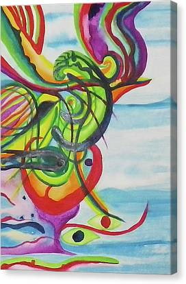 Underwater Psychedelic Bird Canvas Print by Erika Swartzkopf