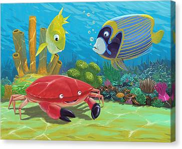 Underwater Sea Friends Canvas Print by Martin Davey