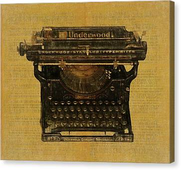 Typewriter Keys Canvas Print - Underwood Typewriter On Text by Dan Sproul