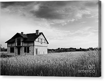 Undone Disused House In Field Canvas Print by Arletta Cwalina
